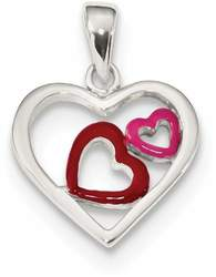 Sterling Silver Polished & Enameled Hearts Pendant