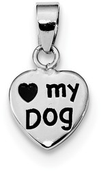 Rhodium-Plated Sterling Silver Antiqued Love My Dog Pendant