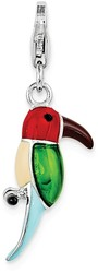 Sterling Silver Red & Green Enamel w/ Lobster Clasp Parrot Charm
