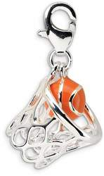 Sterling Silver 3-D Enameled Basketball In Net w/ Lobster Clasp Charm