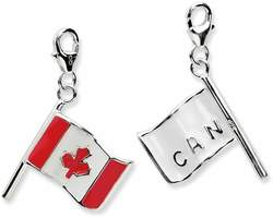 Sterling Silver 3-D Enameled Canadian Flag w/ Lobster Clasp Charm