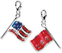 Sterling Silver 3-D Enameled American Flag w/ Lobster Clasp Charm