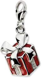 Sterling Silver Red Enameled Present w/ Lobster Clasp Charm
