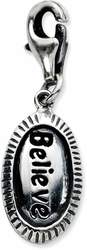 Sterling Silver Antiqued Believe w/ Lobster Clasp Charm