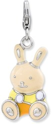 Sterling Silver Enameled 3-D Bunny w/ Lobster Clasp Charm