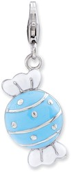 Sterling Silver Enameled Piece Of Candy In Wrapper w/ Lobster Clasp Charm