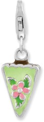 Rhodium-Plated Sterling Silver Enameled Green Mint Cake w/ Lobster Clasp Charm