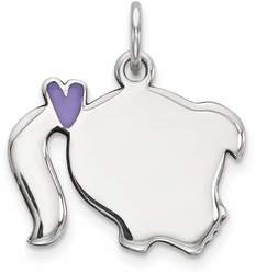 Sterling Silver Purple Enamel Right Facing Girl Head Disc Charm QM530
