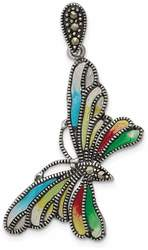 Sterling Silver Marcasite & Multi Color Epoxy Butterfly Pendant