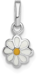Rhodium-Plated Sterling Silver Child's White & Yellow Enamel Daisy Pendant