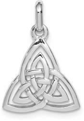 Rhodium-Plated Sterling Silver Polished Celtic Symbol Pendant QP4298