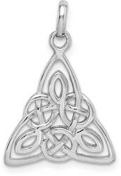 Rhodium-Plated Sterling Silver Polished Celtic Symbol Pendant QP4299
