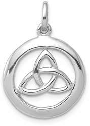 Rhodium-Plated Sterling Silver Polished Celtic Symbol Pendant QP4300