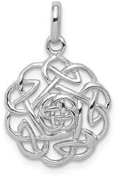 Rhodium-Plated Sterling Silver Polished Celtic Pendant QP4331