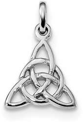 Rhodium-Plated Sterling Silver Polished Trinity Knot Pendant