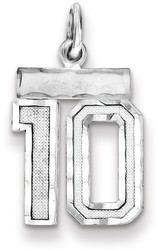 Sterling Silver Large Satin Number 74 Charm