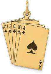 14K Yellow Gold Enameled Royal Flush Playing Cards Charm