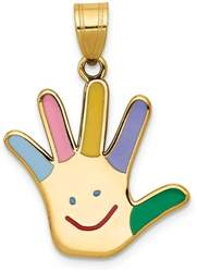 14K Yellow Gold Enameled Autism w/ Happy Face Handprint Pendant