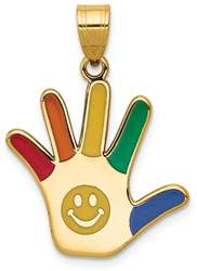 14K Yellow Gold Enameled Autism w/ Smiley Face Handprint Pendant