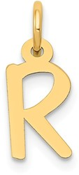 14K Yellow Gold Small Slanted Block Initial R Charm