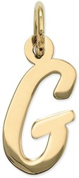 14K Yellow Gold Small Script Initial G Charm