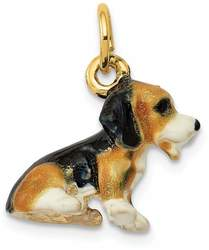 14K Yellow Gold Enameled Small Beagle Charm