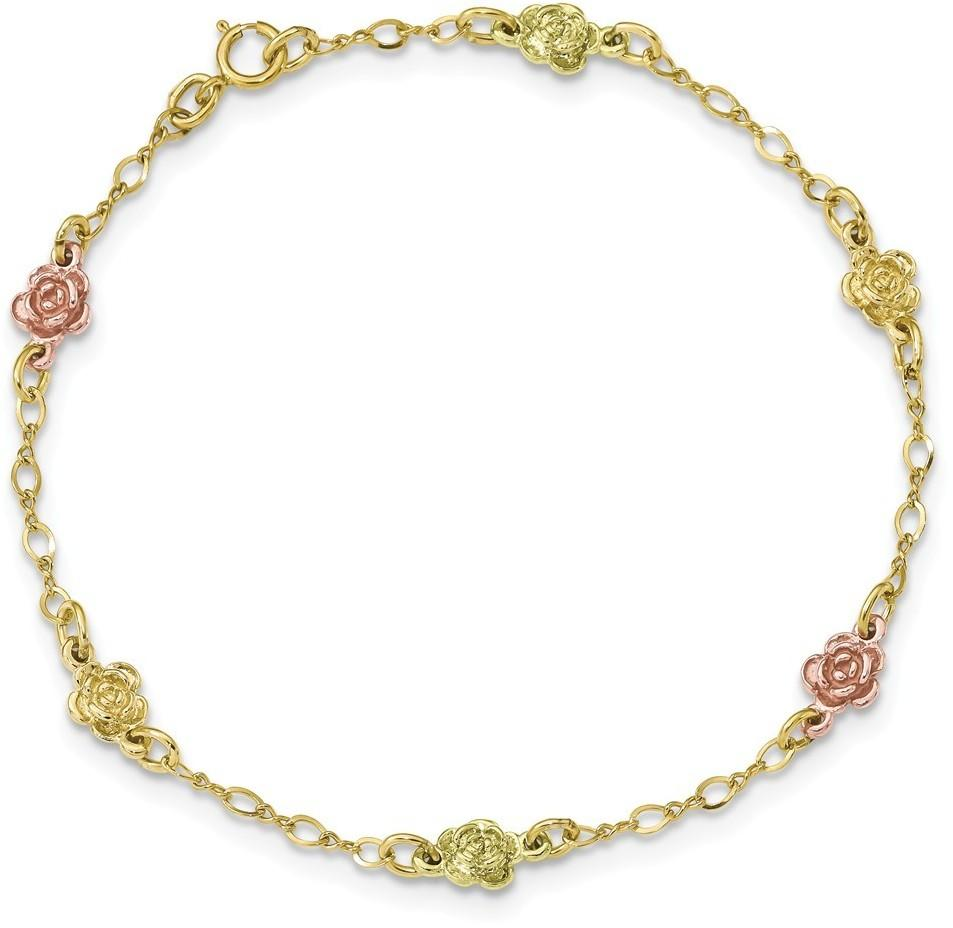 10k Tri-Color Black Hills Gold Roses Bracelet