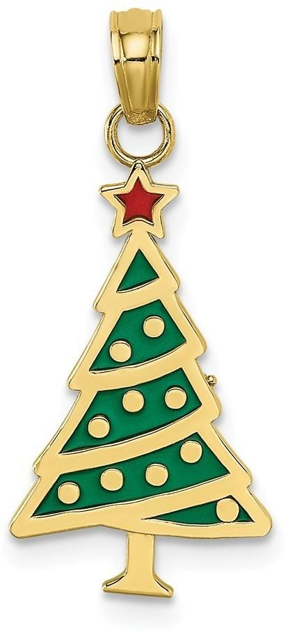10k Yellow Gold Enamel Green Christmas Tree w/ Red Star Pendant