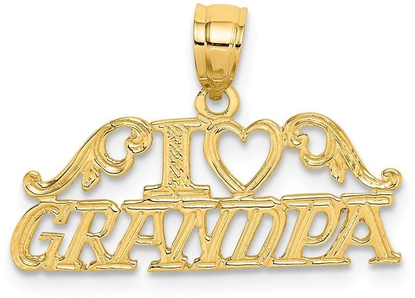 14K Yellow Gold I Heart Grandpa Pendant