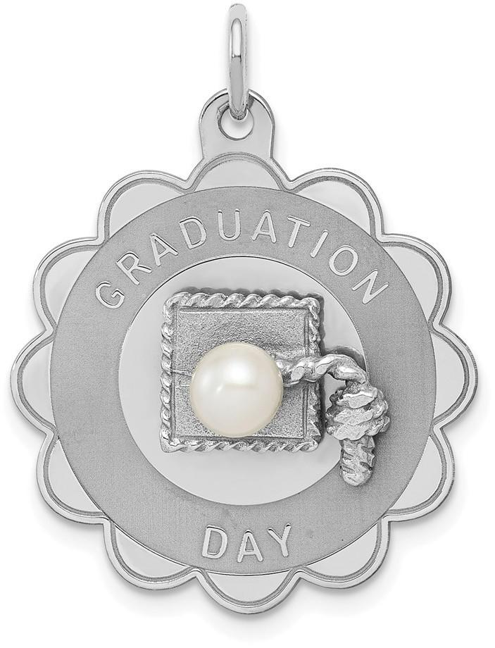 Sterling Silver Graduation Day Disc with Cultured Freshwater Pearl Charm