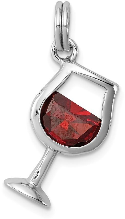 Sterling Silver Rhodium-Plated Red CZ Wine Glass Charm