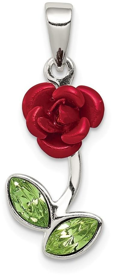 Sterling Silver Red Enamel w/ Green CZ Rose Pendant