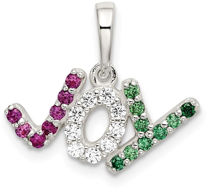 Sterling Silver Polished Red White & Green CZ Joy Pendant