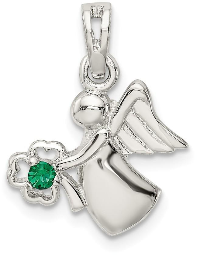 Sterling Silver Synthetic Green Crystal Angel w/ Clover Pendant