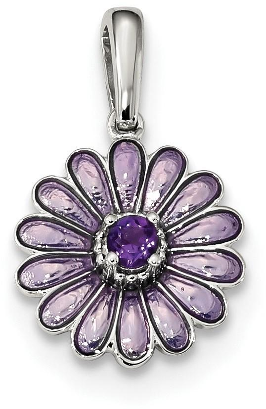 Sterling Silver Amethyst and Enamel Pendant QC9319