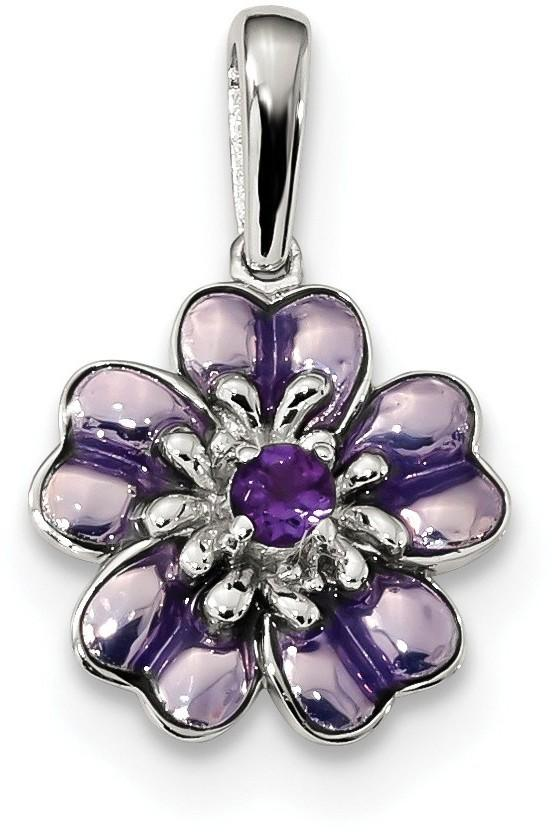 Sterling Silver Amethyst and Enamel Pendant QC9321