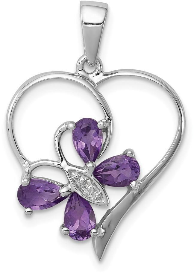 Rhodium-Plated Sterling Silver Amethyst & Diamond Butterfly Heart Pendant