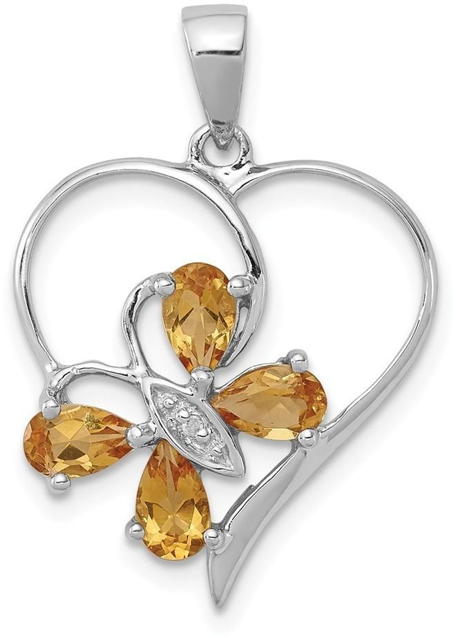 Rhodium-Plated Sterling Silver Citrine & Diamond Butterfly Heart Pendant