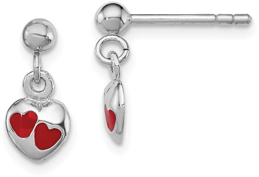 Rhodium-Plated Sterling Silver Childs Red Enameled Heart Dangle Earrings