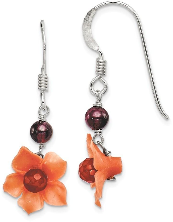 Sterling Silver Garnet Bead & Carnelian Dangle Flower Earrings