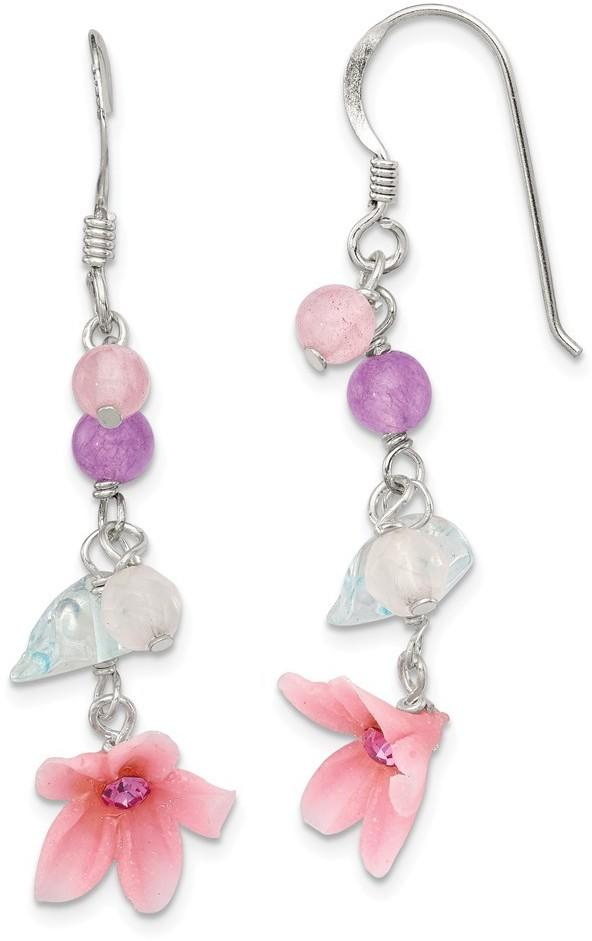 Sterling Silver Amethyst/Agate/Blue Topaz Flower Earrings