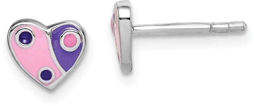 Sterling Silver Rhodium-Plated Childs Enameled Pink/Purple Heart Earrings