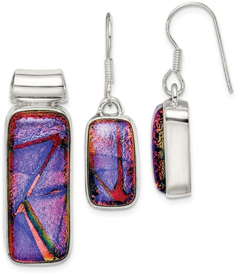 Sterling Silver Multicolor Dichroic Glass Earrings & Pendant Set