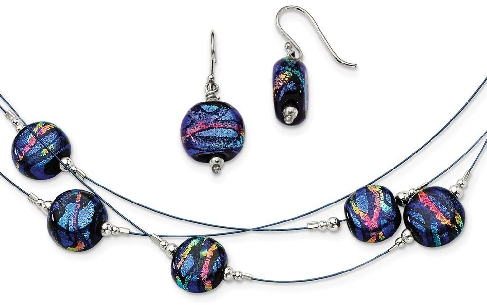 "Sterling Silver Blue Dichroic Glass Earrings & 18"" Necklace Set"
