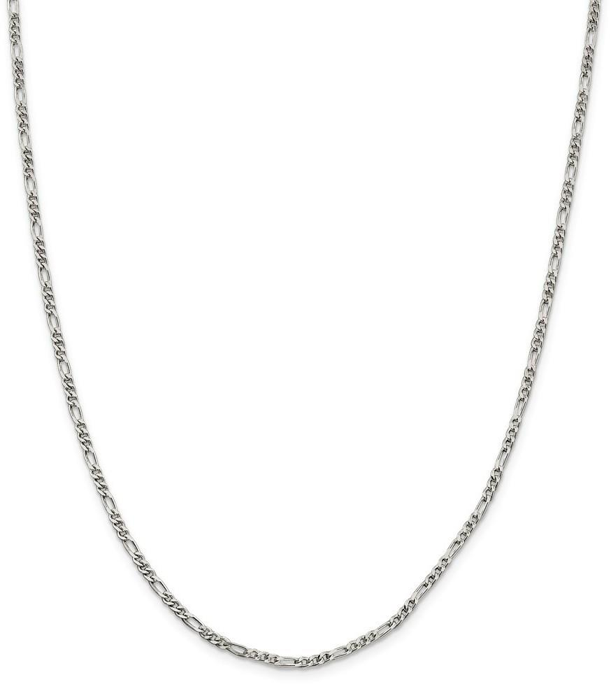 "10"" Sterling Silver 2.5mm Figaro Chain Anklet"