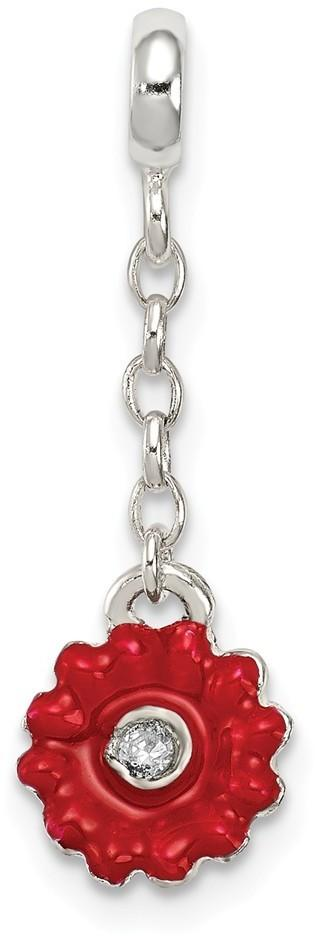Sterling Silver Red Enameled Flower w/ CZ 1/2In Dangle Enhancer Bead