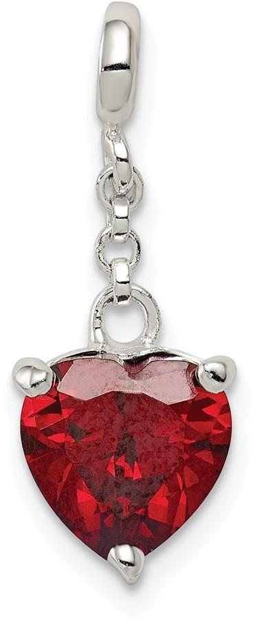 Sterling Silver Dark Red CZ Heart 1/2in Dangle Enhancer Bead