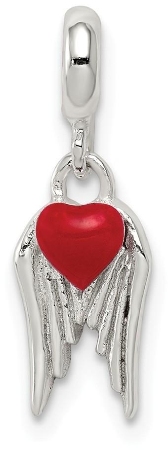 Sterling Silver Red Enameled Heart w/ Wings Enhancer Bead
