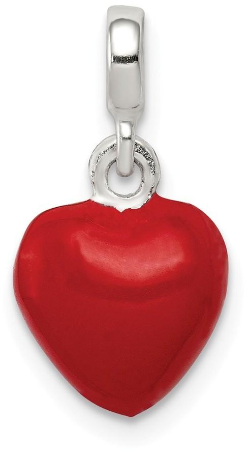 Sterling Silver Red Enameled Heart Enhancer Bead