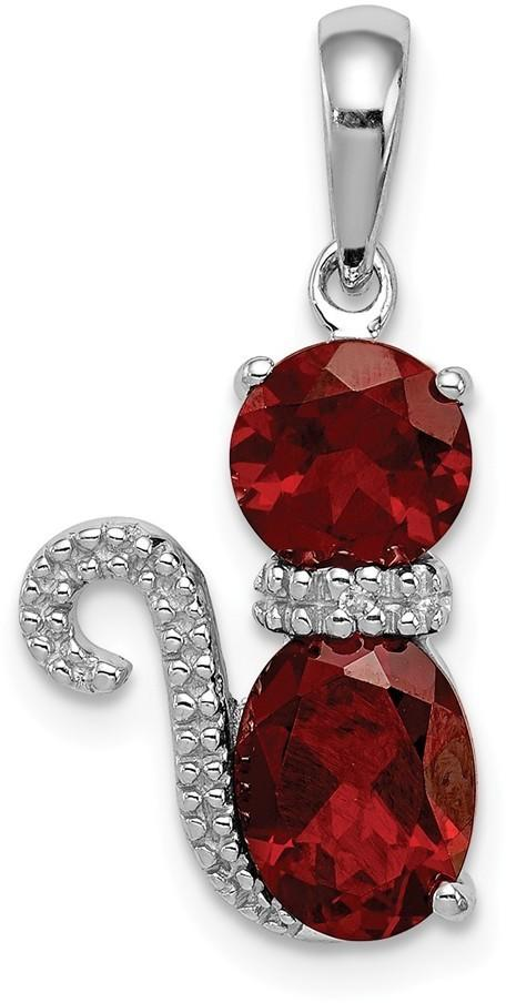 Sterling Silver Rhodium-Plated Garnet and Diamond Cat Pendant